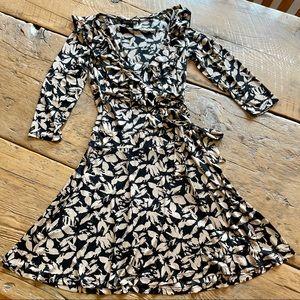 FEMME Black & Beige Ruffle Wrap Dress